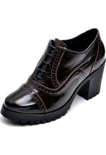 Ankle Boot Verniz Q&A Feminino - Feminino-Preto