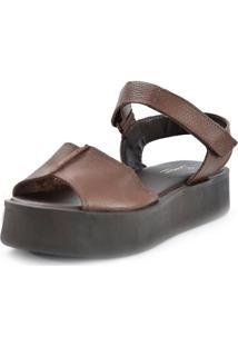 Sandália Flatform Confort Scarpan Calçados Finos Em Couro Cappucino