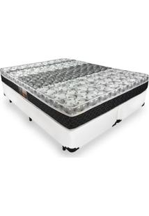 Cama Box King + Colchão De Molas - Castor - Class Bonnel One Face 193X203X60Cm Branco