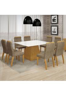 Conjunto Mesa Grecia 1,40X1,40M Com 8 Cadeiras Euro Vidro Branco Suede Camurça Imbuia - Leifer