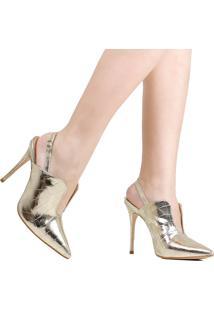 Sapato Zariff Croco Salto Fino Dourado