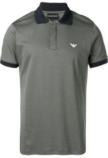 Emporio Armani Camisa Polo Com Logo - Cinza