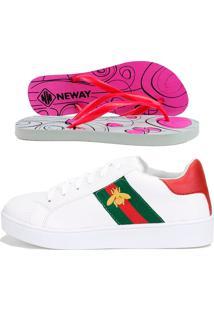 Tênis Dhl Calçados Casual Neway Florense Abelha + 1 Chinelo Neway Branco