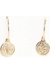 Par De Brincos Medalhas Folheada A Ouro- Dourado- Ø1Viverone Joias