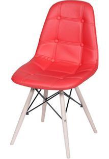 Cadeira Eames Botone Vermelho Base Madeira - 32075 - Sun House