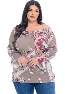 Blusa Plus Size Dezembro Ombro A Ombro Floral Paisley Marrom
