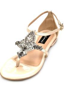 Sandália Rasteira Love Shoes Strass Pedraria Bege