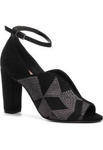Sandália Shoestock Salto Bloco Bordado Feminina