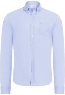 Camisa Masculina Slim Geneva Butotn Down - Azul