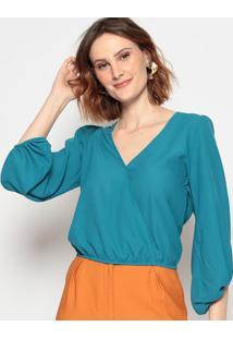 Blusa Com Transpasse - Azul - Chocoleitechocoleite