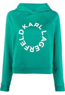 Karl Lagerfeld Blusa De Moletom Cropped Com Logo - Verde
