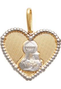 Pingente Prata Mil Coração Com Terço Nossa Senhora Carmo Ouro