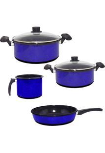 Conjunto Agatha Caçarolas Esmaltadas, Caneco E Frigideira Azul Granitada Com 2 Tampas De Vidro