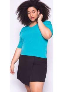 Blusa Almaria Plus Size Ela Linda Básica Azul Turquesa Verde