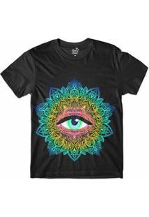 Camiseta Long Beach Psicodélica Olho Que Tudo Vê Sublimada Masculina - Masculino-Preto