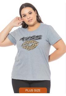 T-Shirt Com Estampa De Boca Animal Print Mescla