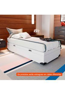 Cama Box Com Baú Premium Com Colchão Solteiro Veneza Branco