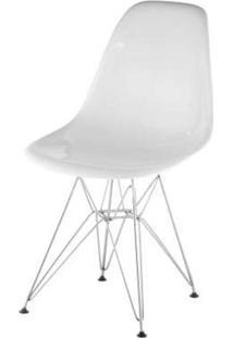 Cadeira Eames Policarbonato Branca Off White Base Cromada - 17851