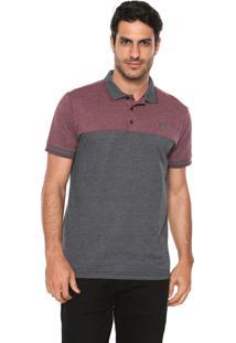 Camisa Polo Mr Kitsch Reta Bicolor Cinza/Vinho