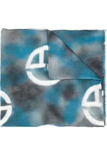 Giorgio Armani Echarpe Monogramada - Azul