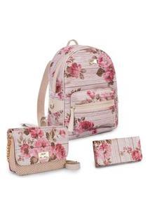 Kit Mochila + Bolsa + Carteira Rosa Com Estampa Floral