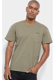 Camiseta Reserva Estonada Gente Boa Bolso Masculina - Masculino-Verde Militar