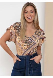 Blusa Azulejo Dourado Com Decote V