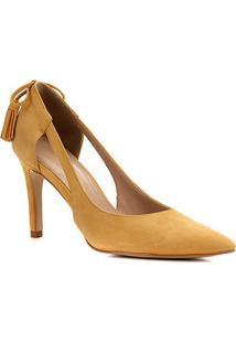Scarpin Couro Shoestock Nobuck Tassel Salto Alto - Feminino-Amarelo