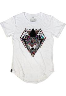 Camiseta Longline Stoned Color Wolf Masculina - Masculino-Branco