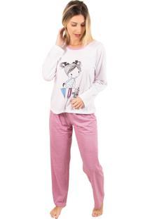 Pijama Bella Fiore Modas Longo Fran Rosa - Tricae