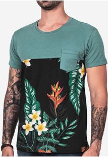 Camiseta 1/3 Verde E Floral 102346
