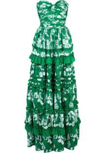 Alexis Vestido Com Babados E Amarração - Verde