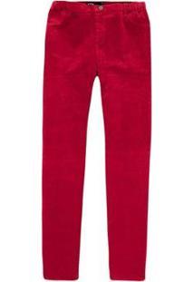 Calça Hering Slim Veludo Feminina - Feminino-Vermelho