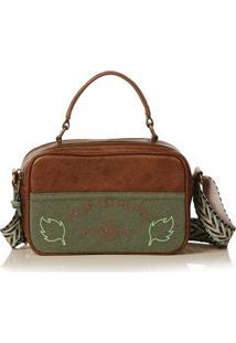Bolsa Blue Bags Crossbody Bordado Terra - Cafã©/Multicolorido/Verde Militar - Feminino - Dafiti