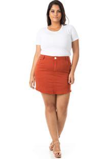 Saia Jeans Destroyed Color Plus Size - Confidencial Extra - Tricae