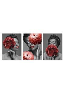 Quadro 60X120Cm Canvas Bessie Mulher Com Flores Vermelhas
