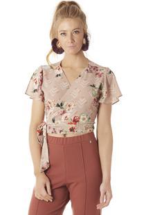 Blusa Transpassada Serinah Brand Floral Bege