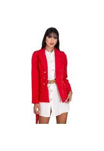 Blazer Feminino Botões Dourados Estilo Balmain Top Qualidade Acinturado Moderna Vermelho
