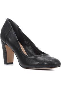Scarpin Couro Shoestock Salto Alto Snake - Feminino-Preto