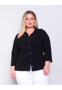 Camisa Plus Size Palank Good Vibes Feminina - Feminino-Preto