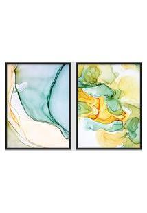 Quadro 65X90Cm Abstrato Âmbar Amarelo E Verde Moldura Preta Sem Vidro Decorativo Interiores
