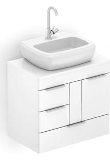 Gabinete Para Banheiro Em Mdf Com Cuba Fit 60X38Cm Branco
