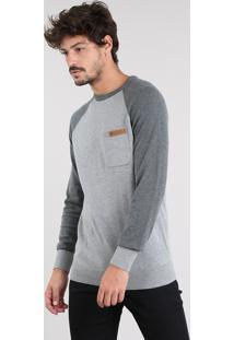 Suéter Masculino Raglan Em Tricô Com Bolso Gola Redonda Cinza Mescla