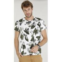 113361176 Camiseta Masculina Slim Fit Estampada De Folhagem E Caveira Manga Curta  Gola Careca Branca
