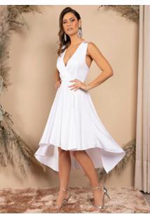 Vestido Mullet Branco Com Detalhe Em Tule