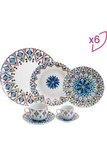 Aparelho De Jantar Marrakesh Geométrico- Branco & Azul