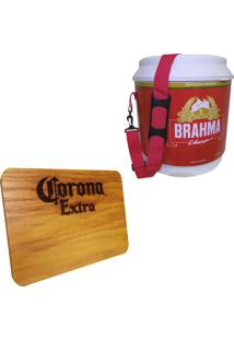 Cooler Térmico Brahma Brasil 20 Litros + Tábua De Madeira Corona Extra 24,5 X 17,5 Cm