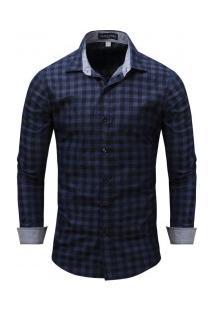 Camisa Masculina Xadrez Manga Longa - Azul Escuro