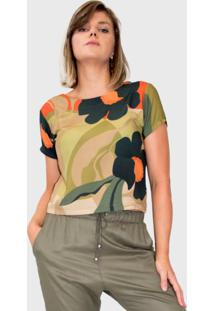 Blusa Modisch Decote Costa Floral Militar