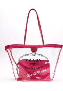 Prada Bolsa Shopping Vinil Com Transparência - Rosa